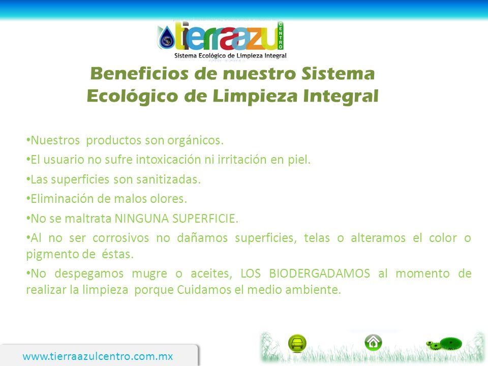 www.tierraazulcentro.com.mx Beneficios de nuestro Sistema Ecológico de Limpieza Integral Nuestros productos son orgánicos. El usuario no sufre intoxic