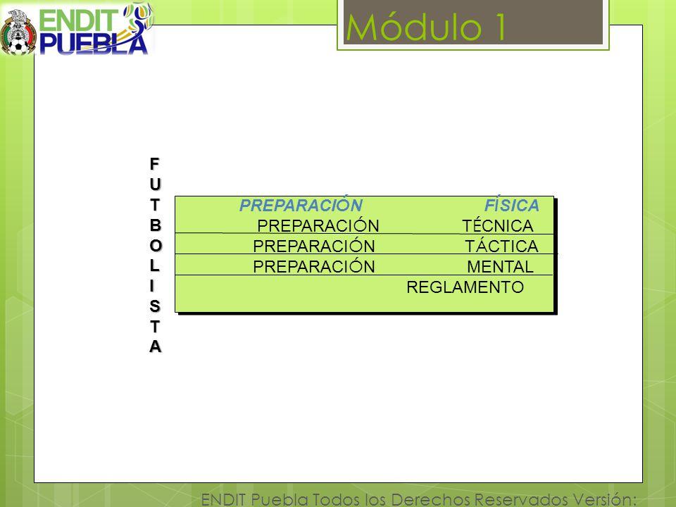 Módulo 1 ENDIT Puebla Todos los Derechos Reservados Versión: 1.1 FUTBOLFUTBOLIISTASTAFUTBOLFUTBOLIISTASTAI PREPARACI Ó N F Í SICA PREPARACI Ó N T É CN