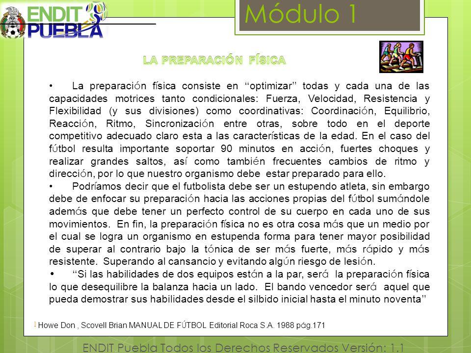 Módulo 1 ENDIT Puebla Todos los Derechos Reservados Versión: 1.1 [1 ] ] Howe Don, Scovell Brian MANUAL DE F Ú TBOL Editorial Roca S.A. 1988 p á g.171
