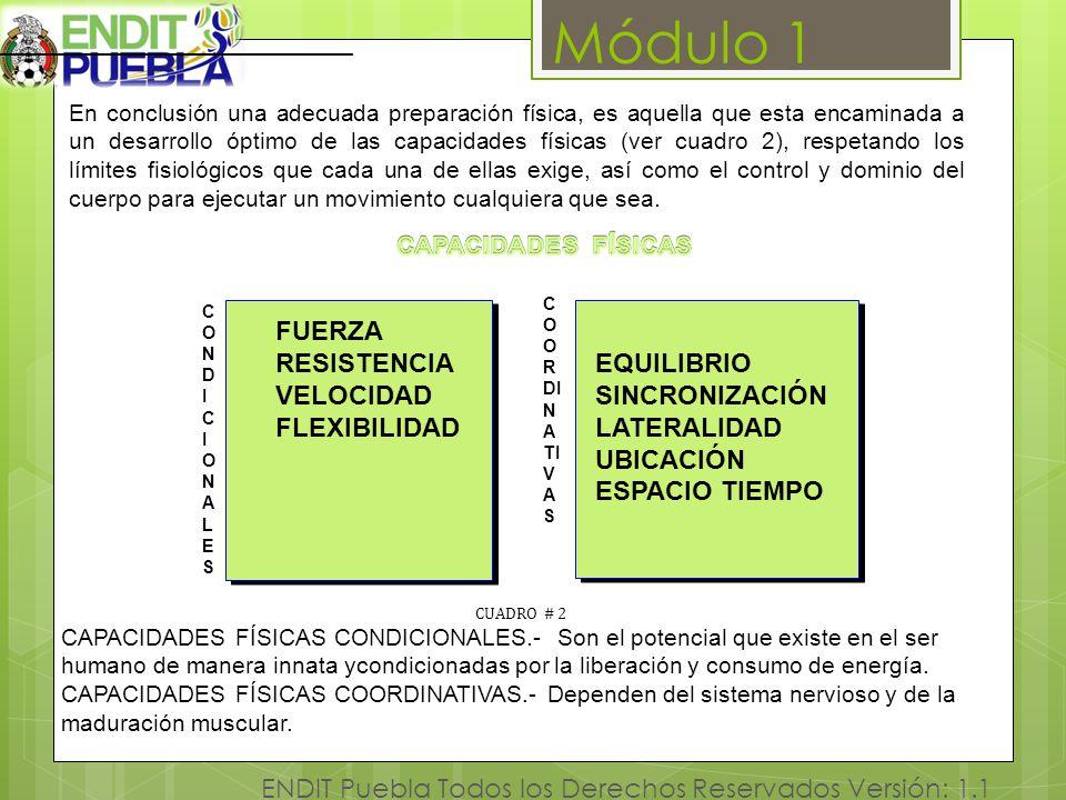 Módulo 1 ENDIT Puebla Todos los Derechos Reservados Versión: 1.1 [1 En conclusión una adecuada preparación física, es aquella que esta encaminada a un