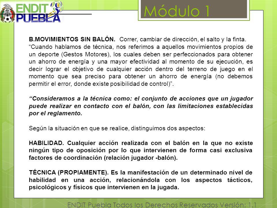 Módulo 1 ENDIT Puebla Todos los Derechos Reservados Versión: 1.1 B.MOVIMIENTOS SIN BALÓN. Correr, cambiar de dirección, el salto y la finta. Cuando ha