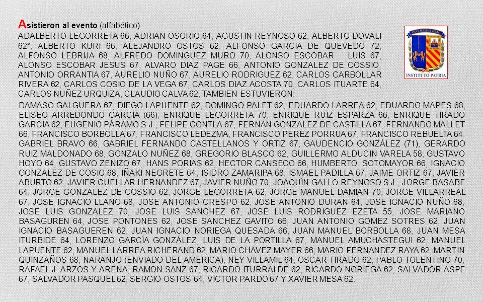 Editorial 30 de Agosto 2013 Dedico esta FOTOSERIE a todos los Ex del INSTITUTO PATRIA Coordinador de la Gen58 Guillermo Alducin Varela Estimados compa