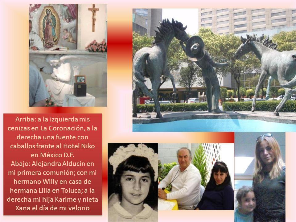 A la izquierda Alejandra Alducin con mi nieta Xana, Hector Castro con su esposa, mi sobrina Maru y en brazos Paty III; a la derecha mi prima Bertita de Alicona y mi primo Amado