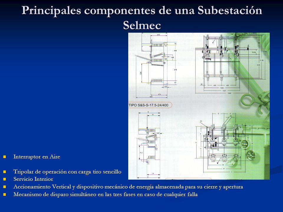 Principales Componentes de Una Subestación Selmec Cuchilla desconectadora Cuchilla desconectadora Tiro Sencillo de 400 amperes nominales Tiro Sencillo