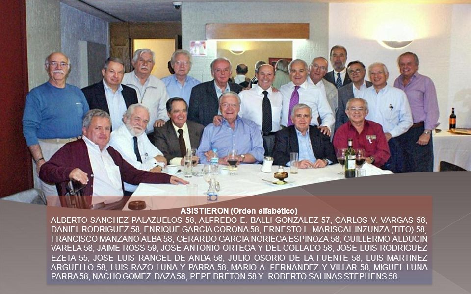 ASISTIERON (Orden alfabético) ALBERTO SANCHEZ PALAZUELOS 58, ALFREDO E.