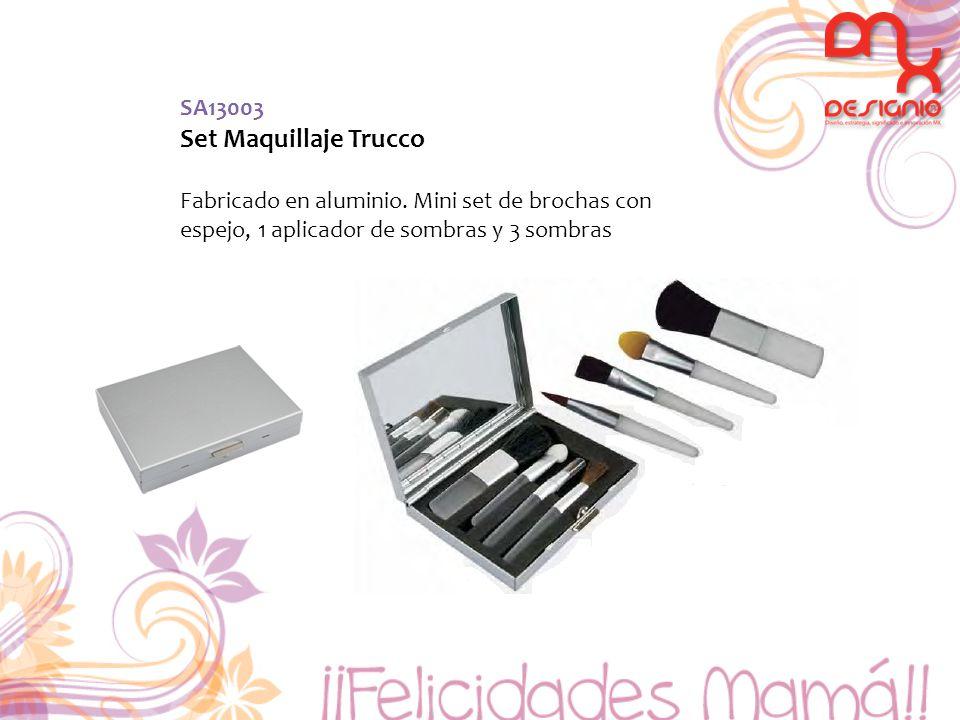 SA13003 Set Maquillaje Trucco Fabricado en aluminio. Mini set de brochas con espejo, 1 aplicador de sombras y 3 sombras