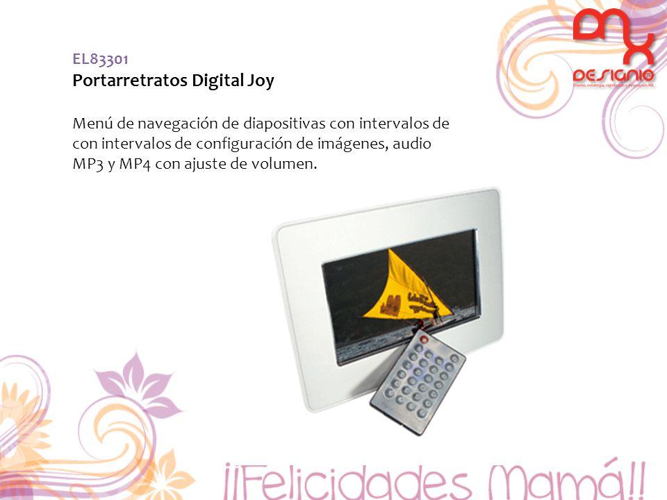 EL83301 Portarretratos Digital Joy Menú de navegación de diapositivas con intervalos de con intervalos de configuración de imágenes, audio MP3 y MP4 con ajuste de volumen.