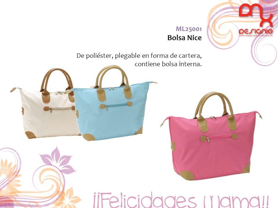 ML25001 Bolsa Nice De poliéster, plegable en forma de cartera, contiene bolsa interna.