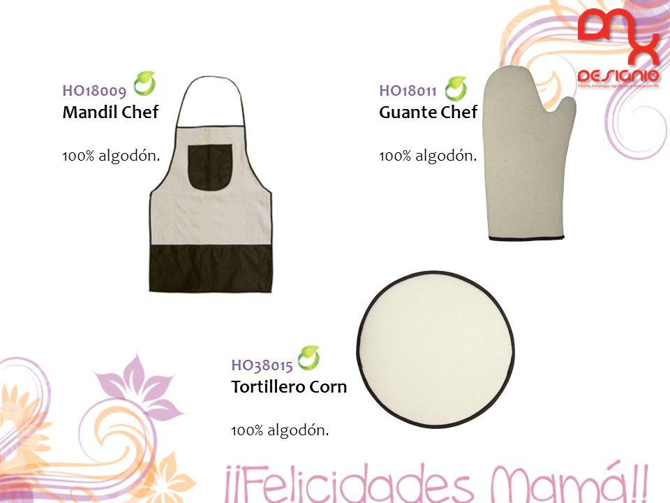 HO18009 Mandil Chef 100% algodón. HO38015 Tortillero Corn 100% algodón. HO18011 Guante Chef 100% algodón.