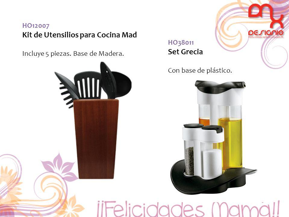 HO12007 Kit de Utensilios para Cocina Mad Incluye 5 piezas. Base de Madera. HO38011 Set Grecia Con base de plástico.