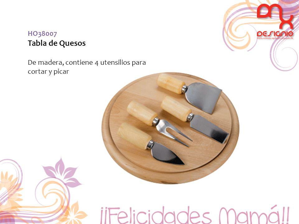 HO38007 Tabla de Quesos De madera, contiene 4 utensilios para cortar y picar