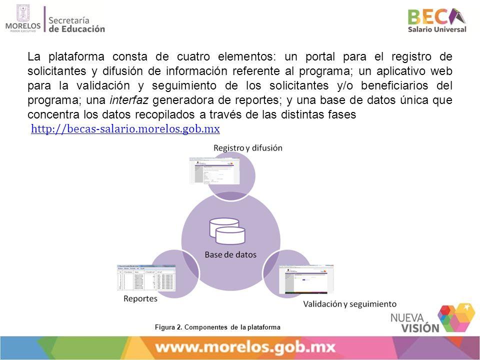 La plataforma consta de cuatro elementos: un portal para el registro de solicitantes y difusión de información referente al programa; un aplicativo we