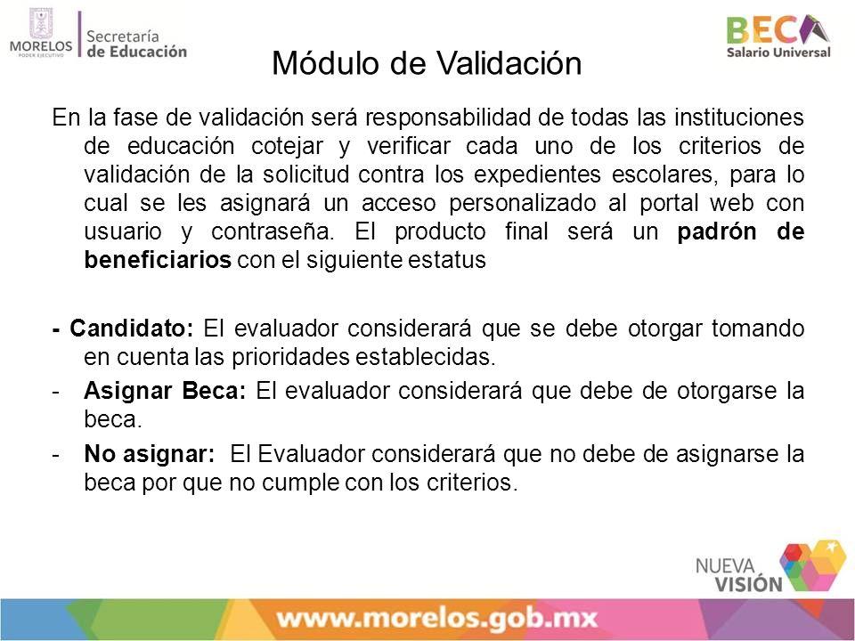 Módulo de Validación En la fase de validación será responsabilidad de todas las instituciones de educación cotejar y verificar cada uno de los criteri