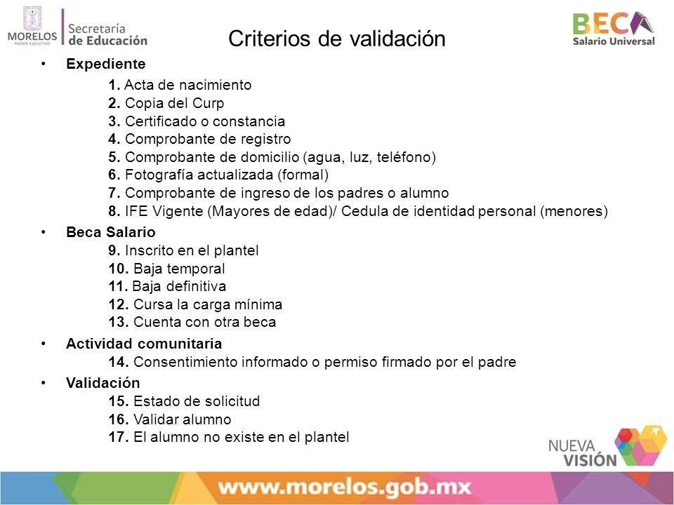Criterios de validación Expediente 1. Acta de nacimiento 2. Copia del Curp 3. Certificado o constancia 4. Comprobante de registro 5. Comprobante de do
