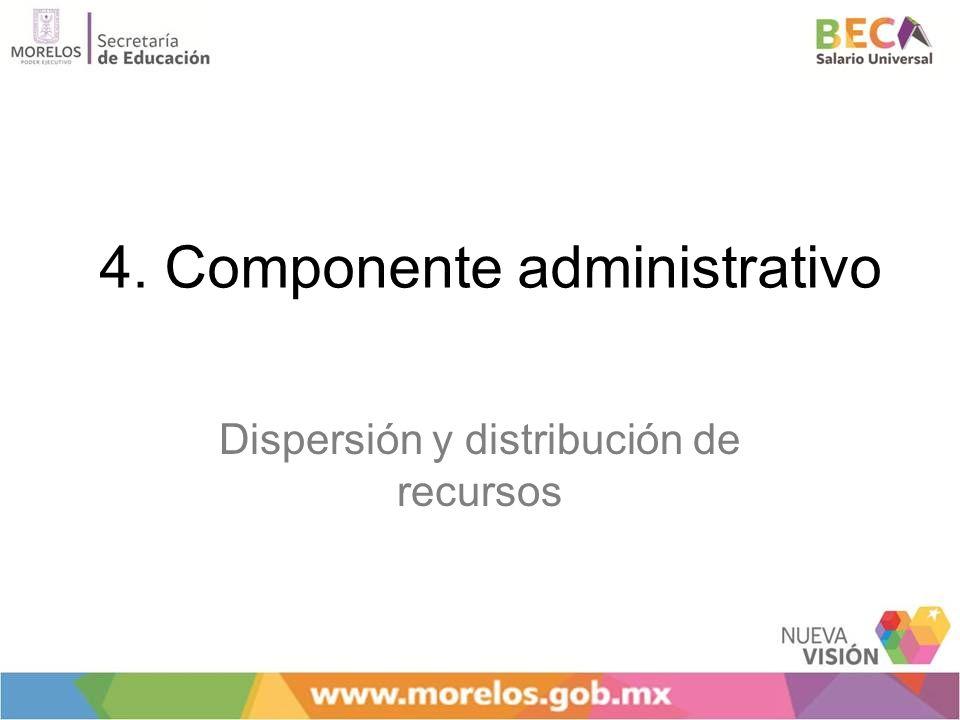 4. Componente administrativo Dispersión y distribución de recursos