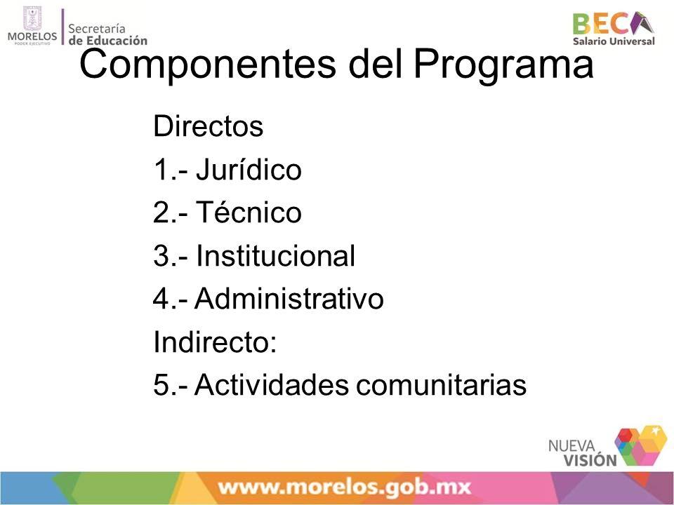 Componentes del Programa Directos 1.- Jurídico 2.- Técnico 3.- Institucional 4.- Administrativo Indirecto: 5.- Actividades comunitarias