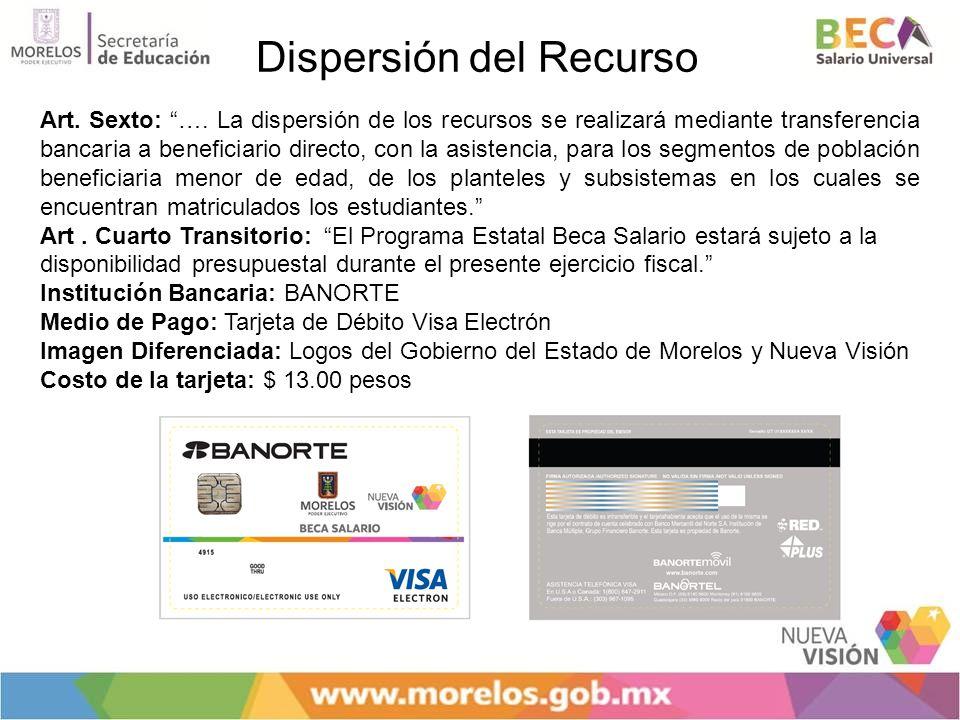 Dispersión del Recurso Art. Sexto: …. La dispersión de los recursos se realizará mediante transferencia bancaria a beneficiario directo, con la asiste