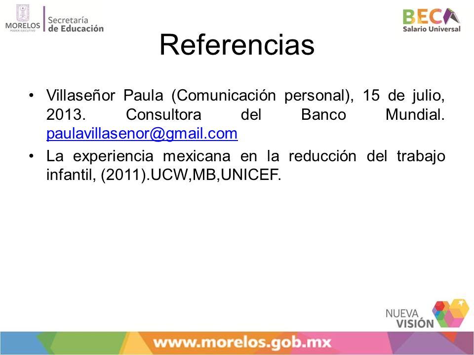 Referencias Villaseñor Paula (Comunicación personal), 15 de julio, 2013. Consultora del Banco Mundial. paulavillasenor@gmail.com paulavillasenor@gmail