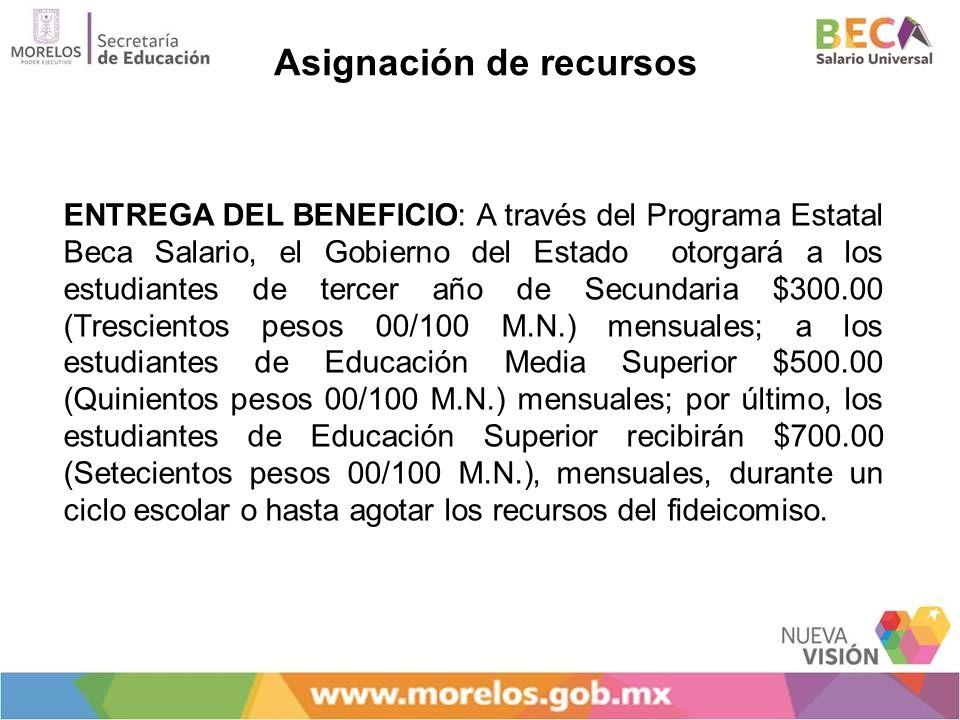 Asignación de recursos ENTREGA DEL BENEFICIO: A través del Programa Estatal Beca Salario, el Gobierno del Estado otorgará a los estudiantes de tercer