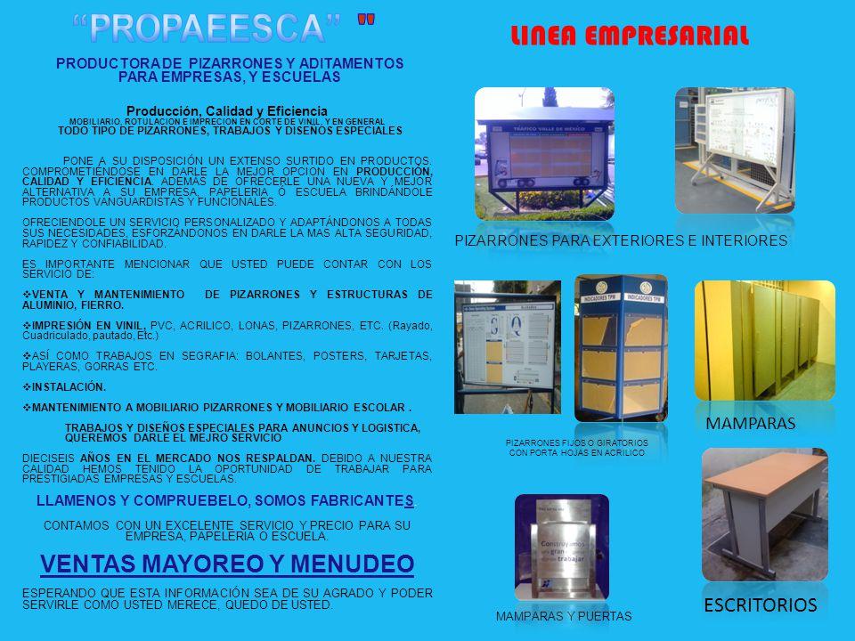 TELEFONO y FAX 01 (55) 13469118 59183925 DIRECCION ORIENTE 81 NO. 4308 COL. MANILINCHE G. C. P. 07899 E-mail Propaeesca_@hotmail.com PIZARRONE BLANCO