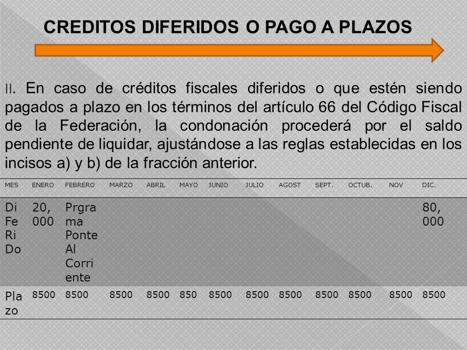 II. En caso de créditos fiscales diferidos o que estén siendo pagados a plazo en los términos del artículo 66 del Código Fiscal de la Federación, la c