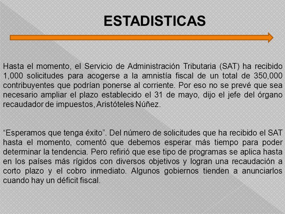 Hasta el momento, el Servicio de Administración Tributaria (SAT) ha recibido 1,000 solicitudes para acogerse a la amnistía fiscal de un total de 350,0