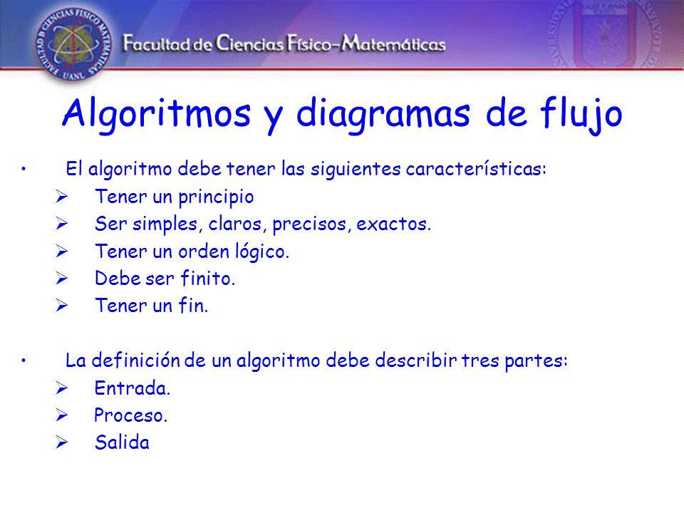 Algoritmos y diagramas de flujo El algoritmo debe tener las siguientes características: Tener un principio Ser simples, claros, precisos, exactos.