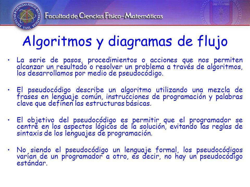 Algoritmos y diagramas de flujo La serie de pasos, procedimientos o acciones que nos permiten alcanzar un resultado o resolver un problema a través de algoritmos, los desarrollamos por medio de pseudocódigo.