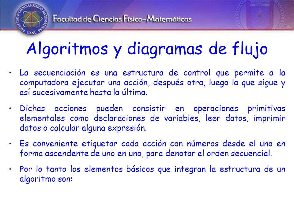 Algoritmos y diagramas de flujo La secuenciación es una estructura de control que permite a la computadora ejecutar una acción, después otra, luego la que sigue y así sucesivamente hasta la última.