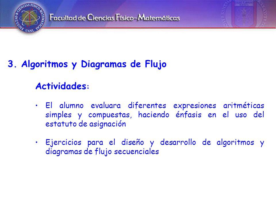 3. Algoritmos y Diagramas de Flujo Actividades : El alumno evaluara diferentes expresiones aritméticas simples y compuestas, haciendo énfasis en el us