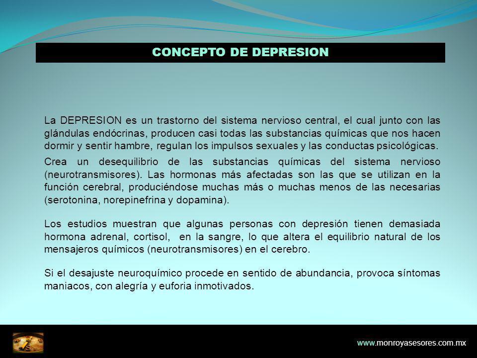 CONCEPTO DE DEPRESION La DEPRESION es un trastorno del sistema nervioso central, el cual junto con las glándulas endócrinas, producen casi todas las substancias químicas que nos hacen dormir y sentir hambre, regulan los impulsos sexuales y las conductas psicológicas.