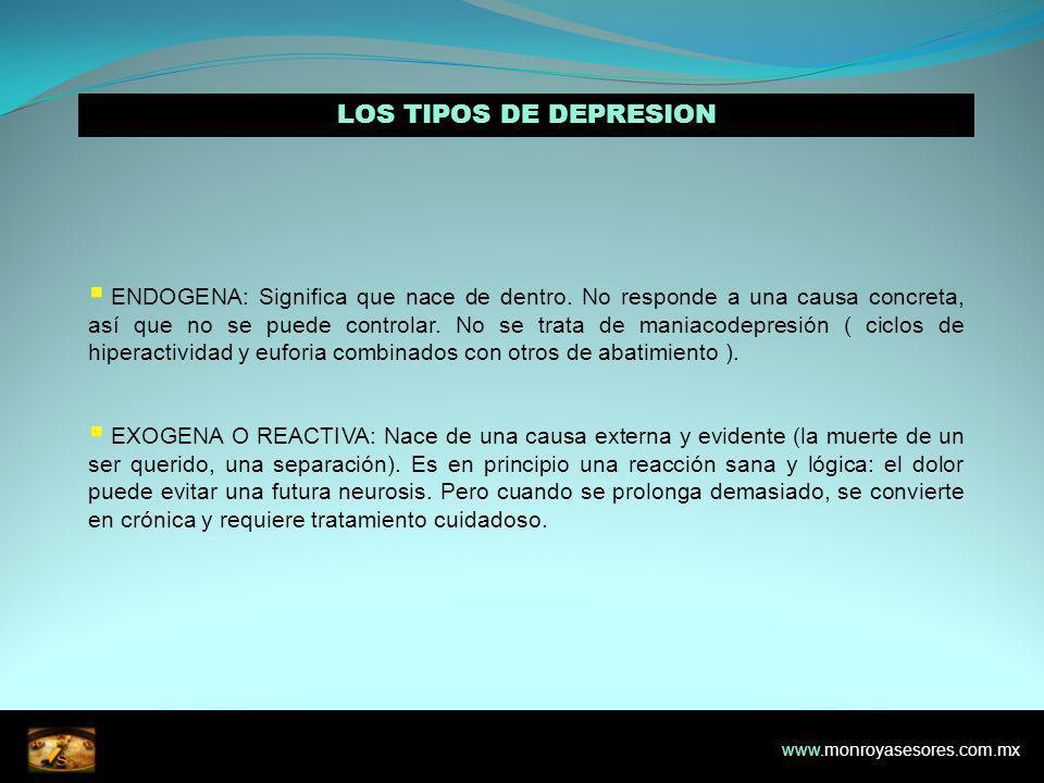 LOS TIPOS DE DEPRESION ENDOGENA: Significa que nace de dentro.