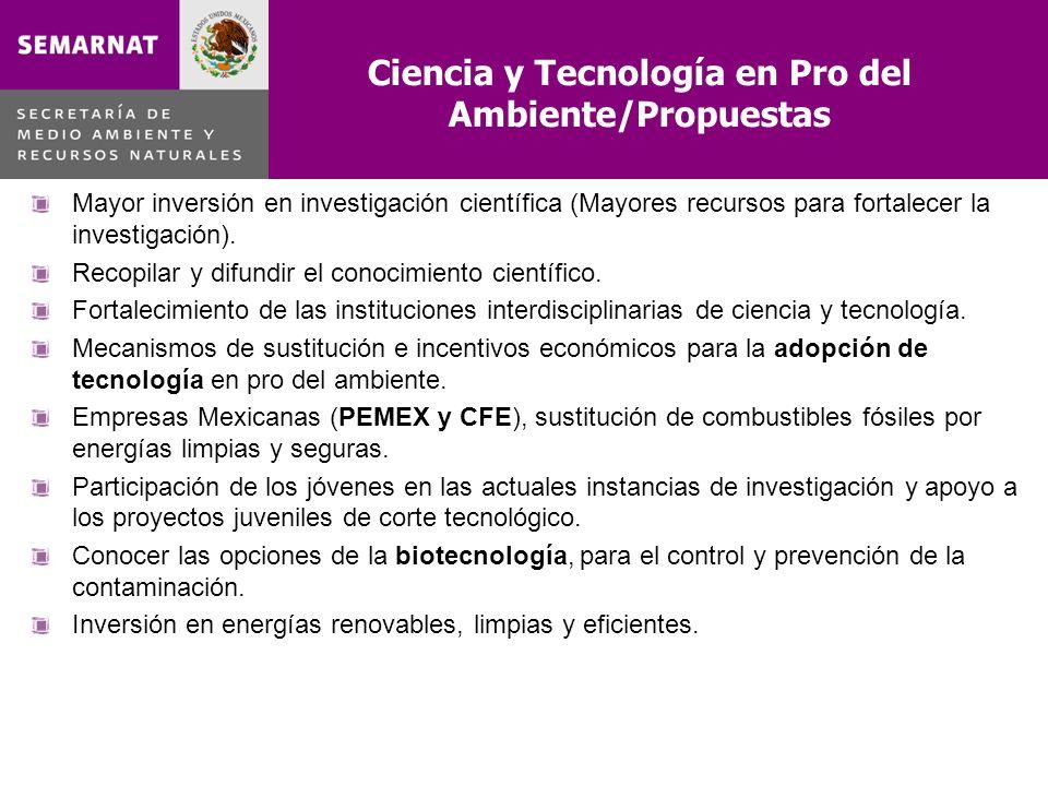 Ciencia y Tecnología en Pro del Ambiente/Propuestas Mayor inversión en investigación científica (Mayores recursos para fortalecer la investigación). R