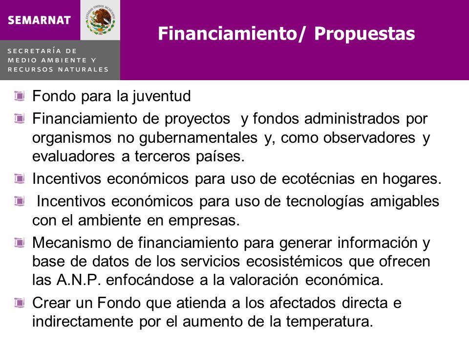 Financiamiento/ Propuestas Fondo para la juventud Financiamiento de proyectos y fondos administrados por organismos no gubernamentales y, como observa