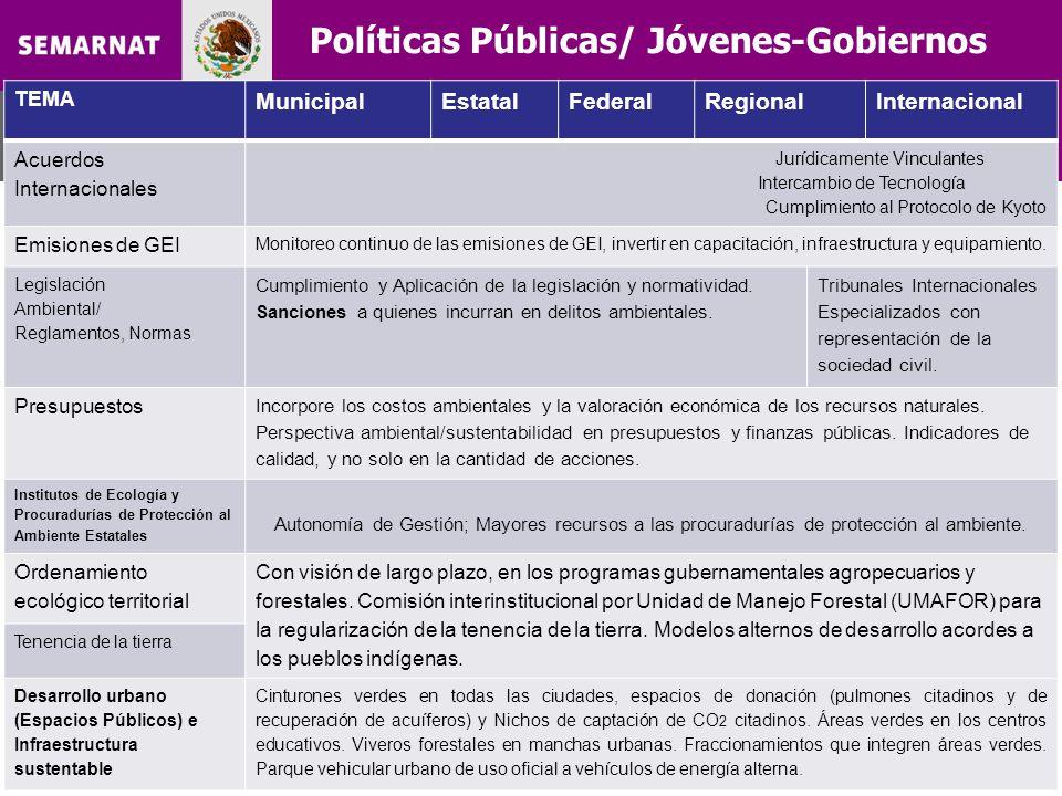 Políticas Públicas/ Jóvenes-Gobiernos TEMA MunicipalEstatalFederalRegionalInternacional Acuerdos Internacionales Jurídicamente Vinculantes Intercambio