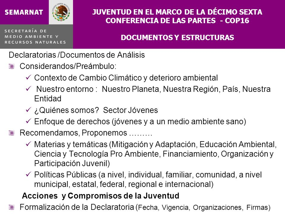 JUVENTUD EN EL MARCO DE LA DÉCIMO SEXTA CONFERENCIA DE LAS PARTES - COP16 DOCUMENTOS Y ESTRUCTURAS Declaratorias /Documentos de Análisis Considerandos