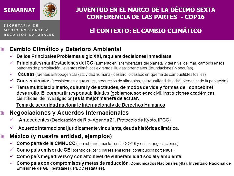 JUVENTUD EN EL MARCO DE LA DÉCIMO SEXTA CONFERENCIA DE LAS PARTES - COP16 El CONTEXTO: EL CAMBIO CLIMÁTICO Cambio Climático y Deterioro Ambiental De l