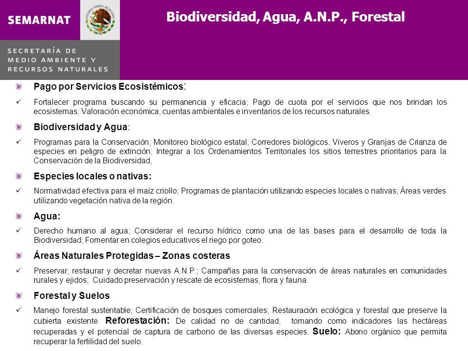 Biodiversidad, Agua, A.N.P., Forestal Pago por Servicios Ecosistémicos : Fortalecer programa buscando su permanencia y eficacia; Pago de cuota por el