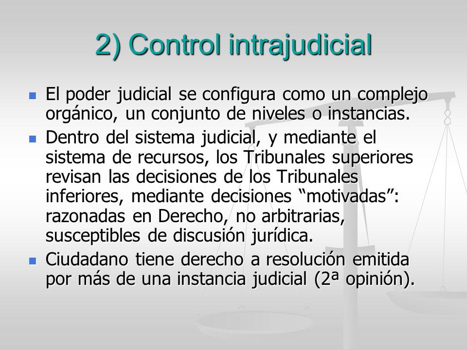 2) Control intrajudicial El poder judicial se configura como un complejo orgánico, un conjunto de niveles o instancias. El poder judicial se configura