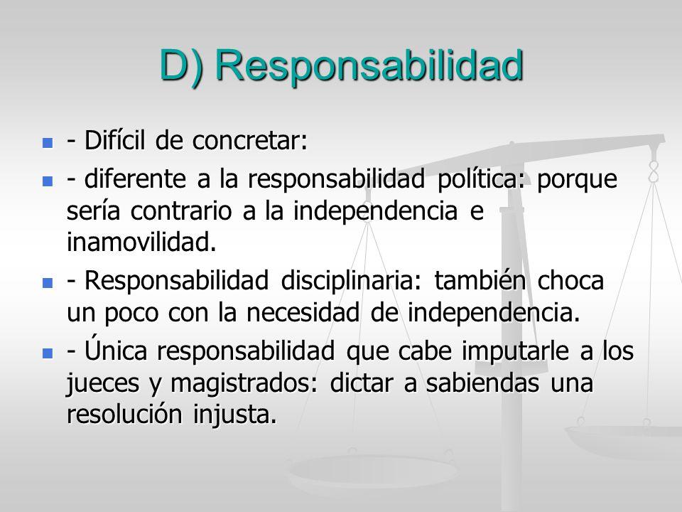D) Responsabilidad - Difícil de concretar: - Difícil de concretar: - diferente a la responsabilidad política: porque sería contrario a la independenci
