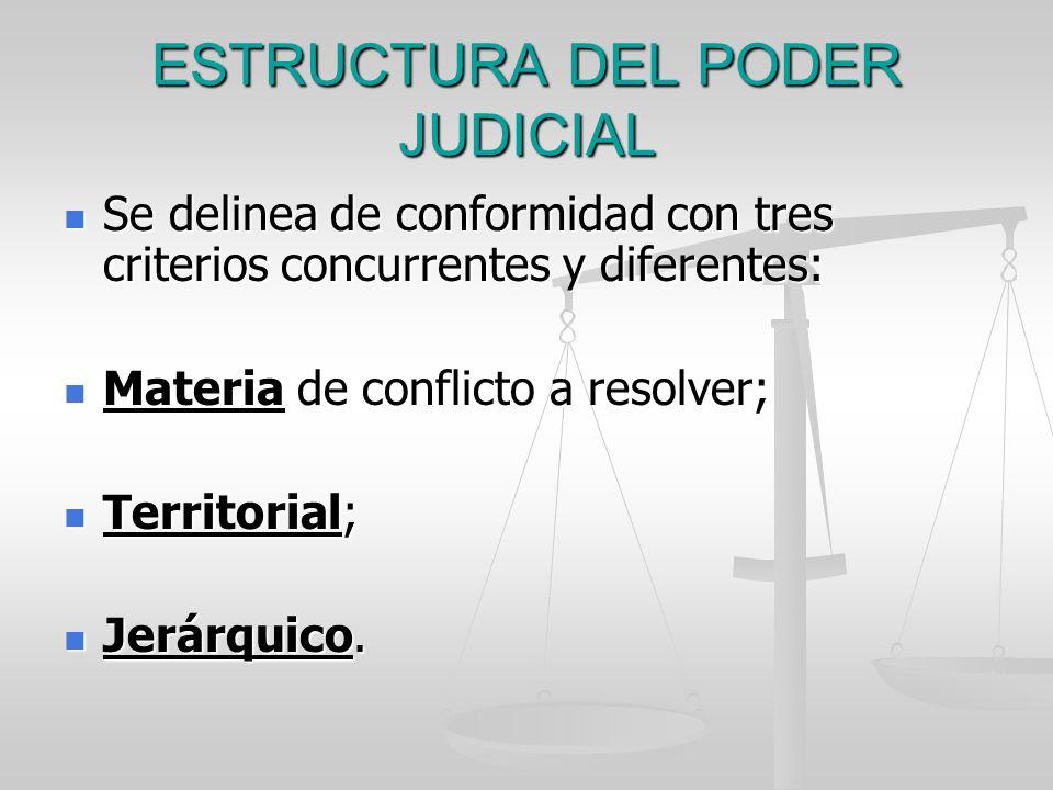 ESTRUCTURA DEL PODER JUDICIAL Se delinea de conformidad con tres criterios concurrentes y diferentes: Se delinea de conformidad con tres criterios con