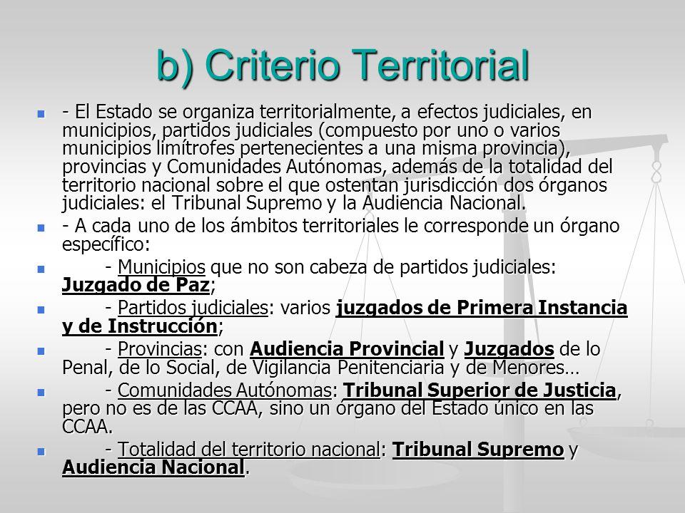 b) Criterio Territorial - El Estado se organiza territorialmente, a efectos judiciales, en municipios, partidos judiciales (compuesto por uno o varios