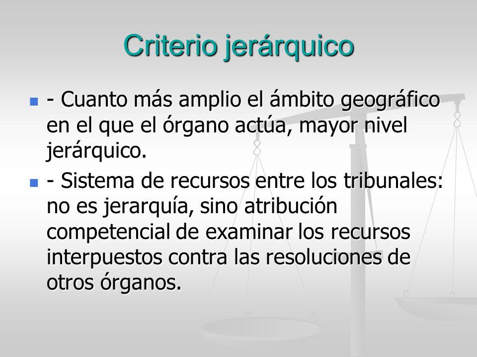 Criterio jerárquico - Cuanto más amplio el ámbito geográfico en el que el órgano actúa, mayor nivel jerárquico. - Cuanto más amplio el ámbito geográfi