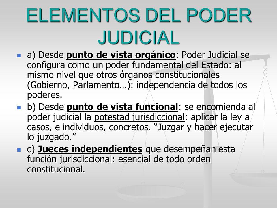 ELEMENTOS DEL PODER JUDICIAL a) Desde punto de vista orgánico: Poder Judicial se configura como un poder fundamental del Estado: al mismo nivel que ot