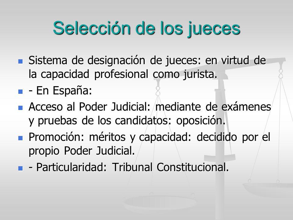Selección de los jueces Sistema de designación de jueces: en virtud de la capacidad profesional como jurista. Sistema de designación de jueces: en vir