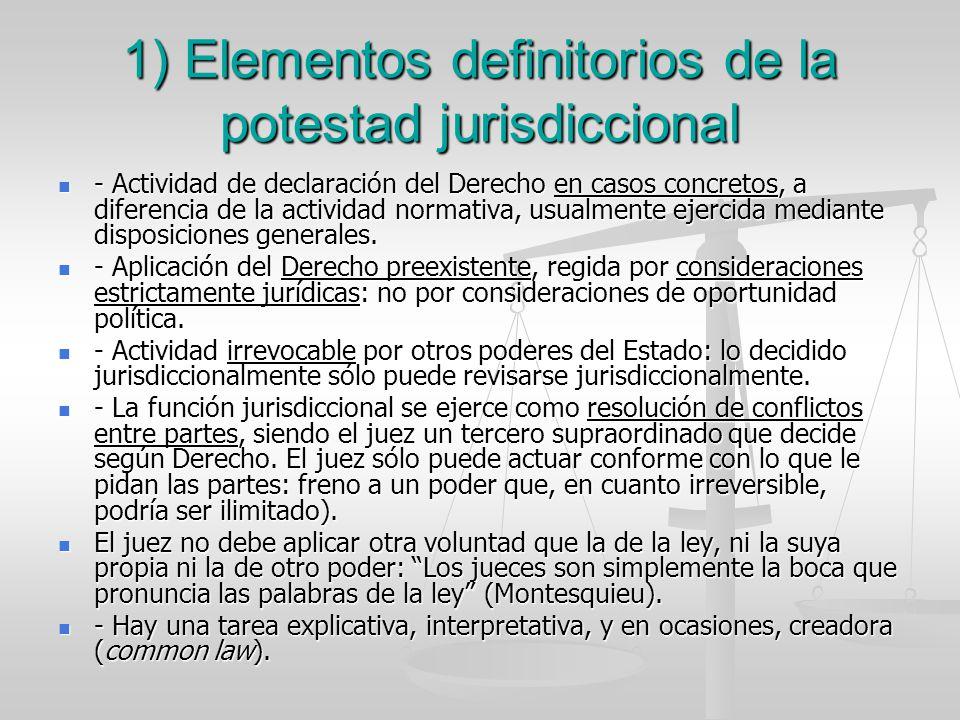 1) Elementos definitorios de la potestad jurisdiccional - Actividad de declaración del Derecho en casos concretos, a diferencia de la actividad normat