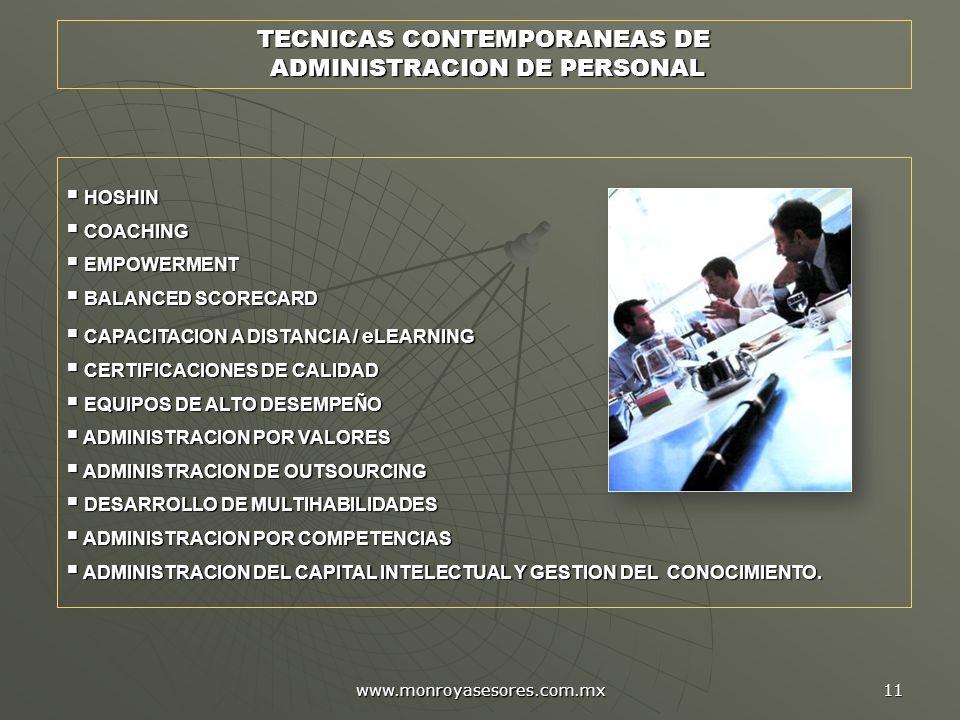 www.monroyasesores.com.mx 11 TECNICAS CONTEMPORANEAS DE ADMINISTRACION DE PERSONAL ADMINISTRACION DE PERSONAL HOSHIN HOSHIN COACHING COACHING EMPOWERMENT EMPOWERMENT BALANCED SCORECARD BALANCED SCORECARD CAPACITACION A DISTANCIA / e LEARNING CAPACITACION A DISTANCIA / e LEARNING CERTIFICACIONES DE CALIDAD CERTIFICACIONES DE CALIDAD EQUIPOS DE ALTO DESEMPEÑO EQUIPOS DE ALTO DESEMPEÑO ADMINISTRACION POR VALORES ADMINISTRACION POR VALORES ADMINISTRACION DE OUTSOURCING ADMINISTRACION DE OUTSOURCING DESARROLLO DE MULTIHABILIDADES DESARROLLO DE MULTIHABILIDADES ADMINISTRACION POR COMPETENCIAS ADMINISTRACION POR COMPETENCIAS ADMINISTRACION DEL CAPITAL INTELECTUAL Y GESTION DEL CONOCIMIENTO.