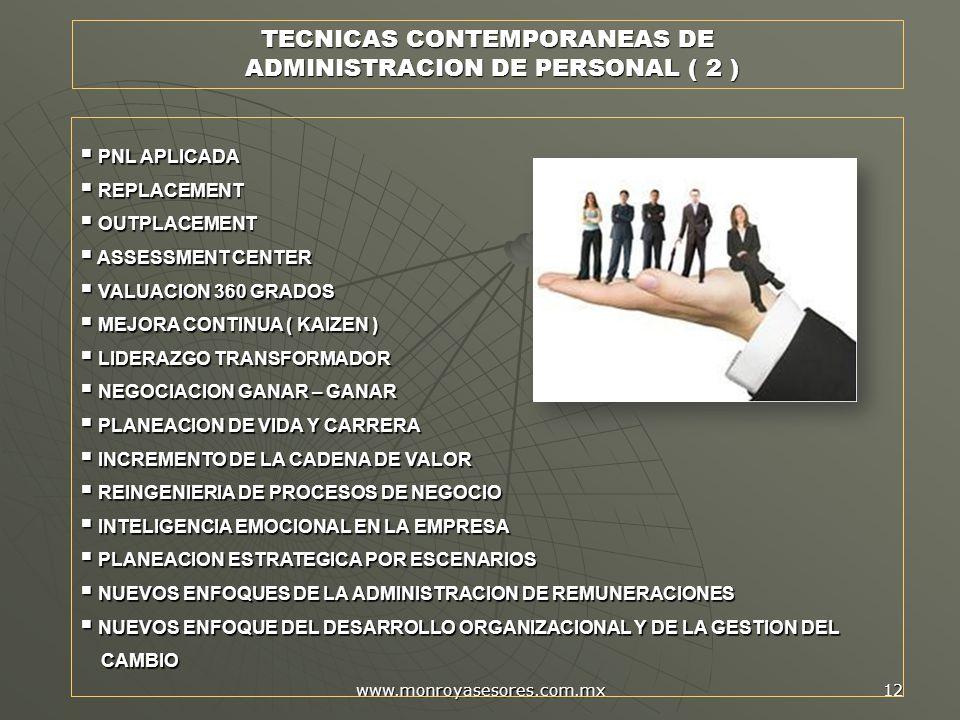 www.monroyasesores.com.mx 12 PNL APLICADA PNL APLICADA REPLACEMENT REPLACEMENT OUTPLACEMENT OUTPLACEMENT ASSESSMENT CENTER ASSESSMENT CENTER VALUACION 360 GRADOS VALUACION 360 GRADOS MEJORA CONTINUA ( KAIZEN ) MEJORA CONTINUA ( KAIZEN ) LIDERAZGO TRANSFORMADOR LIDERAZGO TRANSFORMADOR NEGOCIACION GANAR – GANAR NEGOCIACION GANAR – GANAR PLANEACION DE VIDA Y CARRERA PLANEACION DE VIDA Y CARRERA INCREMENTO DE LA CADENA DE VALOR INCREMENTO DE LA CADENA DE VALOR REINGENIERIA DE PROCESOS DE NEGOCIO REINGENIERIA DE PROCESOS DE NEGOCIO INTELIGENCIA EMOCIONAL EN LA EMPRESA INTELIGENCIA EMOCIONAL EN LA EMPRESA PLANEACION ESTRATEGICA POR ESCENARIOS PLANEACION ESTRATEGICA POR ESCENARIOS NUEVOS ENFOQUES DE LA ADMINISTRACION DE REMUNERACIONES NUEVOS ENFOQUES DE LA ADMINISTRACION DE REMUNERACIONES NUEVOS ENFOQUE DEL DESARROLLO ORGANIZACIONAL Y DE LA GESTION DEL NUEVOS ENFOQUE DEL DESARROLLO ORGANIZACIONAL Y DE LA GESTION DEL CAMBIO CAMBIO TECNICAS CONTEMPORANEAS DE ADMINISTRACION DE PERSONAL ( 2 ) ADMINISTRACION DE PERSONAL ( 2 )