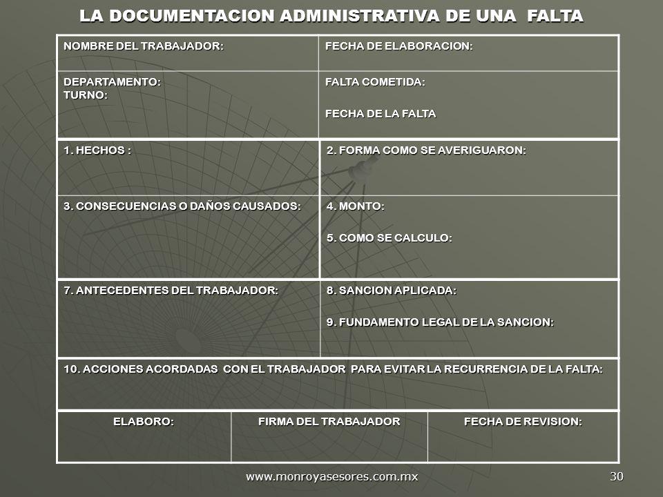 www.monroyasesores.com.mx 30 LA DOCUMENTACION ADMINISTRATIVA DE UNA FALTA NOMBRE DEL TRABAJADOR: FECHA DE ELABORACION: DEPARTAMENTO: TURNO: FALTA COME