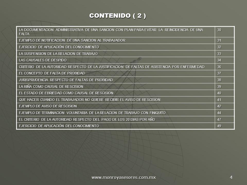 www.monroyasesores.com.mx 4 LA DOCUMENTACION ADMINISTRATIVA DE UNA SANCION CON PLAN PARA EVITAR LA REINCIDENCIA DE UNA FALTA 30 EJEMPLO DE NOTIFICACIO